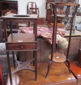 A George III mahogany wash stand, with a recessed top and drawer on square legs,