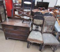 A set of four Edwardian carved and upholstered salon chairs together with an oak chest of drawers