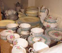 A Royal Albert Enchantment pattern part tea set together a Newhall pottery part dinner set,
