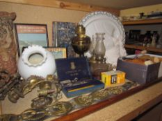 Assorted horse brasses together with glass vases, plates, shoe trees,