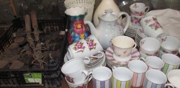 A part coffee set together with a part tea set, vases,