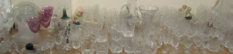A large quantity of glasswares including wine glasses, champagne glasses,