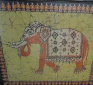 A large Batik of an elephant together with another batik and a silkwork picture