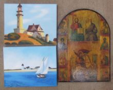Sarah Morgan The lighthouse of two lights Oil on canvas Signed verso Together with another by the