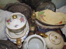 A Carltonware leaf dish, together with part tea set,