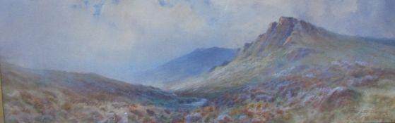 "Ernest R Harington On the Lyd Dartmoor Watercolour Signed Together with a companion ""Evening near"