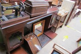 An ivory inset coal purdonium together with a fire surround, wall mirrors, prints, tea trolley,