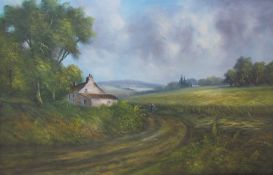 Ray Witchard A farmstead in a cornfield Oil on canvas Signed