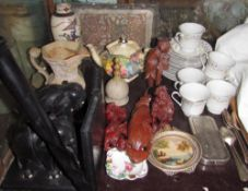An African carved walking stick together with carved Chinese figures, rolls razor, part tea set,