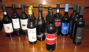 A bottle of House of Lords Special Reserve Port, together with assorted bottles of wine,