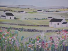 Ros Wiley The Garden House Oil on board Signed Together with a watercolour of a beach scene and two