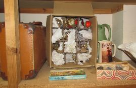 A collection of Fossils, pottery jugs,