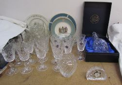 A Jonelle lead crystal decanter together with Edinburgh crystal drinking glasses,