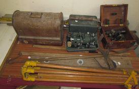 A Stanley surveyors level, together with a theodolite, tripods, spirit level, gauges,