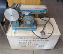 """A Draper 4"""" x 36"""" Belt and disc sander BDS366 together with a Record scroll saw (Sold as seen,"""