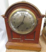 An Edwardian mahogany mantle clock, of domed form,