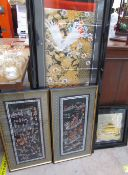 A pair of Chinese silk embroideries depicting children at play and sailing on junks together with