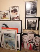 A large quantity of photographic prints, including Marilyn Monroe, James Dean, Steve McQueen,