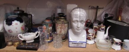 A Noritake part tea set together with a Phrenology head, Japanese part tea set, scales, place mats,