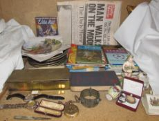 Assorted collectors plates together with wristwatches, silver bladed pocket knife, locket, ring,
