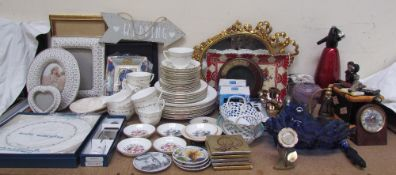 A Royal Worcester Gold Chantilly part tea set together with photograph frames,