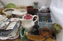 A collection of marbles together with assorted plates, Wade Viking ship, Abdulla cards,