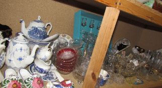 A large lot including a Furnival Denmark patter coffee pot together with other pottery,