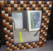 A rectangular wall mirror with square section panels together with a leather framed wall mirror and