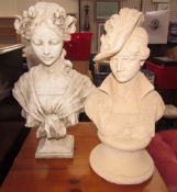A reconstituted stone head and shoulders portrait bust of a maiden together with another portrait