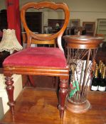 A pair of Victorian mahogany balloon back dining chair together with an umbrella stand