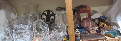 A Ewenny pottery bowl together with shells, Steam videos, Mats Jonasson glass sculptures,