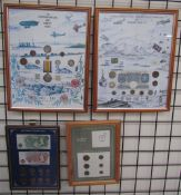 A framed montage of coins, medals and stamps to Commemorate World War I,