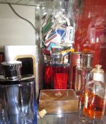 A large quantity of match boxes together with a collection cologne bottles,