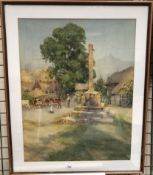 G F Nicholls Cattle in a town square Watercolour Together with another watercolour by the same