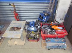 A Record Power lathe together with a pillar drill, bench grinder, and other tools (Sold as seen,