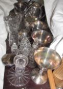 Electroplated goblets together with an electroplated part tea set,