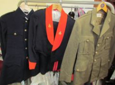 A Royal Ordnance Corps jacket in blue together with a British Army Dress Uniform,