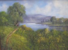 Ray Witchard Figures by a river Oil on canvas Signed Together with a companion of figures fishing