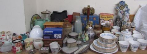 A Sylvac pottery jug together with pottery figures, cameras, dressing table set, jewellery boxes,