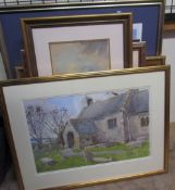Brian Shambler St Mary's Church, Monknash Watercolour Signed Together with John Stamp prints,