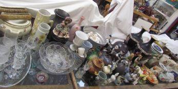 An extensive lot including commemorative mugs, dog of foo, moulded glass pedestal bowl,