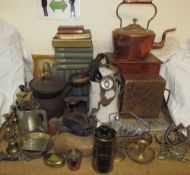 The Iceberg Butter Box together with a copper kettle, cigarette case, miners lamp, brass wares,