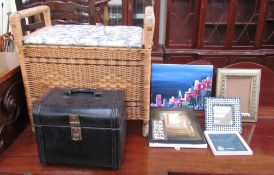 A wicker stool together with a jewellery box,