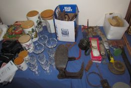 Assorted tools, together with a shoe last, books, Portmeirion storage jars,