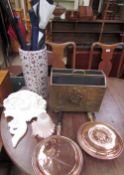 Two copper bedwarming pans, together with a brass magazine rack, a pottery umbrella stand,
