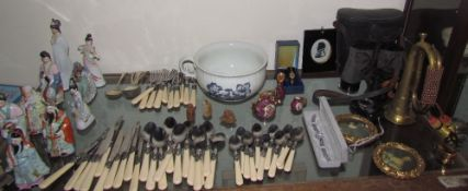 Chinese porcelain figures together with a part flatware service, binoculars, wristwatches,