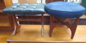 An upholstered teak stool on a pair of splayed legs together with another teak stool