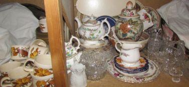 A Royal Worcester leaf decorated part tea set, together with other part sets, vase and cover, bowl,