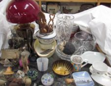 A glass paperweight, dated 1970 together with other glass paperweights, glass vases, glass bowl,