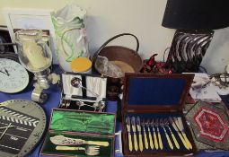 A cased electroplated and ivory fish servers together with a cased fish knife and fork set,